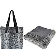 Dennis Basso Faux Fur Tote Bag with 32x60 Lap Throw - H209831