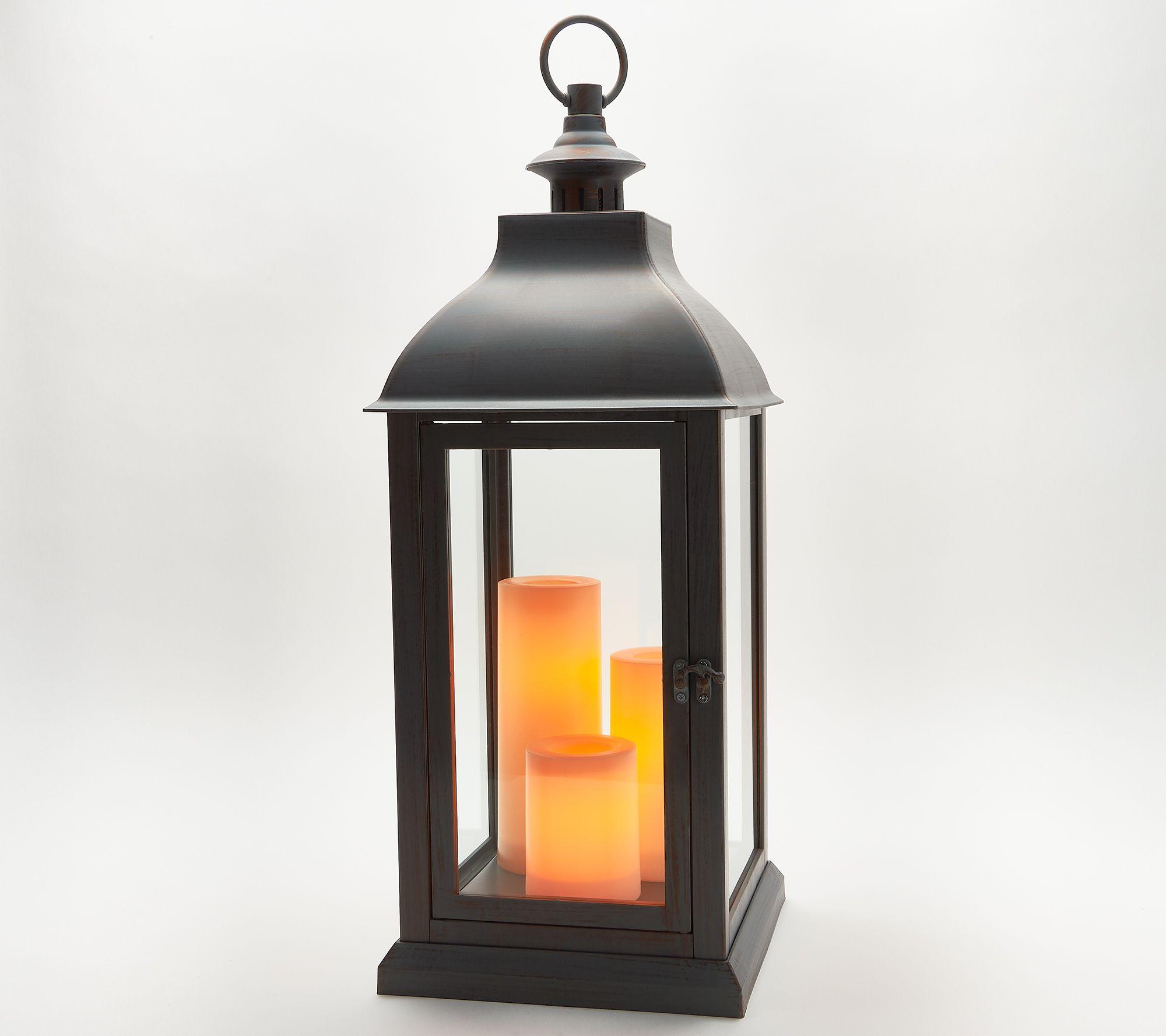 Weather Resistant Set of 2 Room Essentials LED Outdoor Metal Lanterns