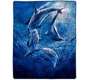 Lavish Home 74 x 91 Heavy Fleece Blanket withOcean Dolphins - H303131