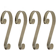 Haute Decor Set of 4 Holly Embossed Stocking Scrolls - H303231