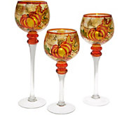 Set of 3 Illuminated Glass Goblets with Tealights by Valerie - H214932