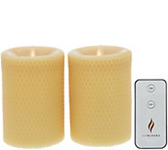 Martha Stewart Set of (2) 5 Flameless Beeswax Pillars w/ Remote - H216632