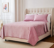Casa Zeta-Jones Stitched Damask Velvet Queen Quilt Set - H217232