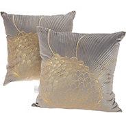 Inspire Me! Home Decor Set of 2 Gold Floral Metallic Pillows 18x18 - H217332