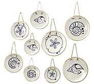 Twos Company Mykonos Set of 9 Hanging Plates Inc 3 Designs - H308832