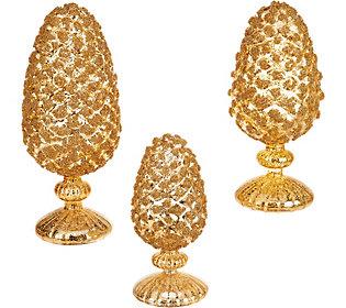 3-Piece Glittered Mercury Glass Pinecones onPedestals