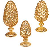 3-Piece Glittered Mercury Glass Pinecones on Pedestals - H216533