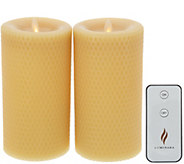 Martha Stewart Set of (2) 7 Flameless Beeswax Pillars w/Remote - H216633