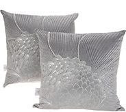 Inspire Me! Home Decor Set of 2 Silver Floral Metallic Pillows 18x18 - H217333