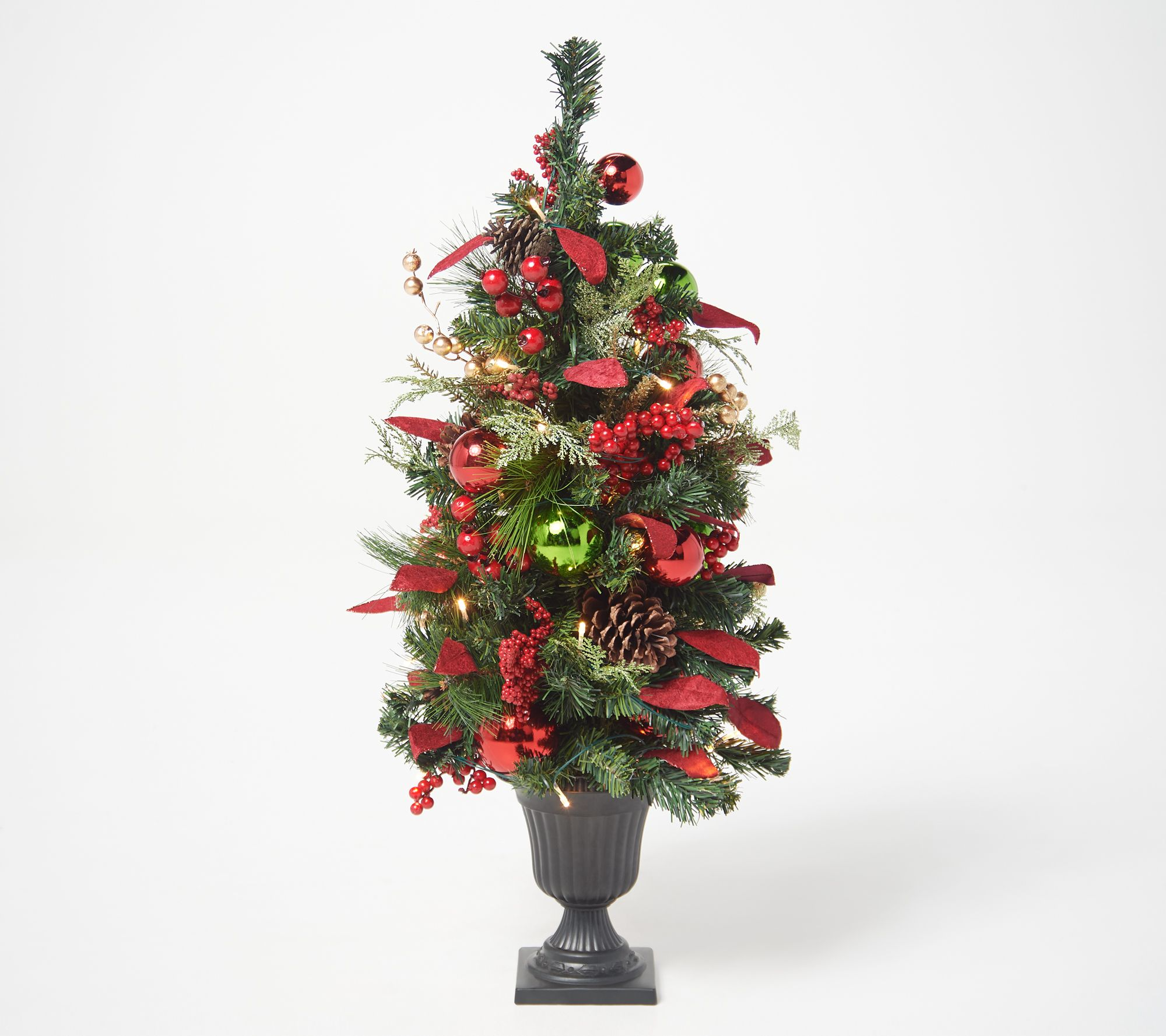 "Indoor Outdoor Illuminated 34"" Holiday Urn Tree QVC"