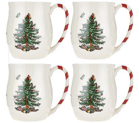- Spode Christmas Tree S/4 14 Oz. Candy Cane Mugs - Page 1 €� QVC.com