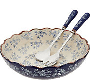 Temp-tations Floral Lace Serving Bowl With Utensils - H212334