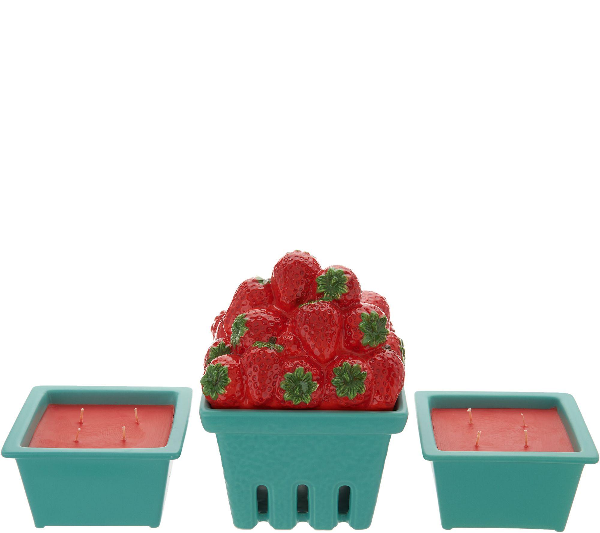 9021e1e483b3a HomeWorx by Harry Slatkin Ceramic Fruit Basket w/ (2) 9-oz Candles - Page 1  — QVC.com
