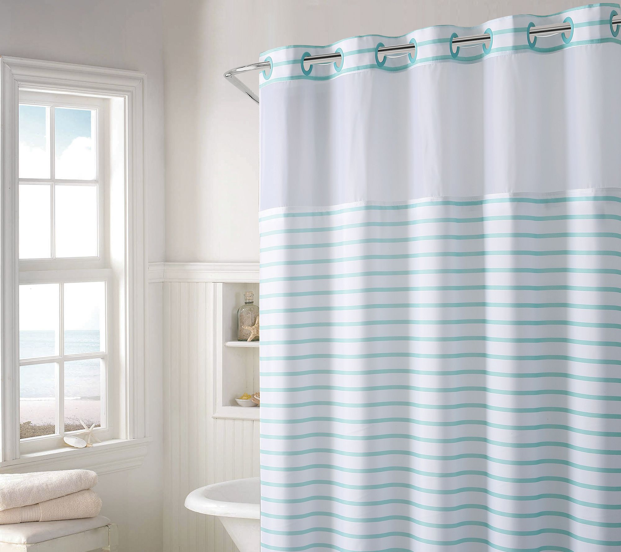 Hookless Charleston Stripe Shower Curtain with Built- In Liner ...