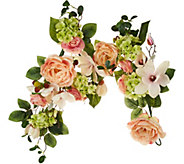 As Is 4 Spring Raspberry Rose and Magnolia Garland - H216234