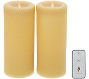 Martha Stewart Set of (2) 9 Flameless Beeswax Pillars w/ Remote - H216634