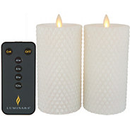 Luminara Set of (2) 3 X 6 Diamond Quilted Pillar Candles & Boxes - H218434
