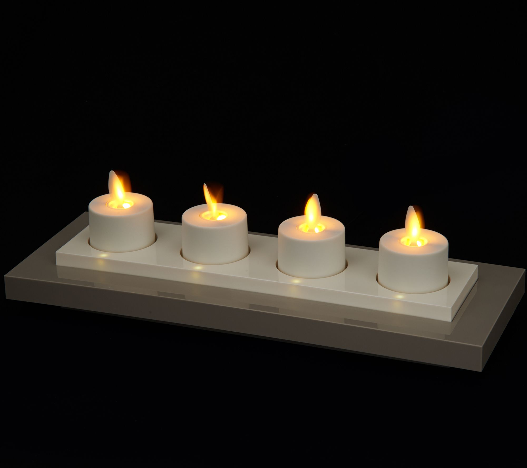 Luminara Set Of 4 Rechargeable Tealights With Base Qvc
