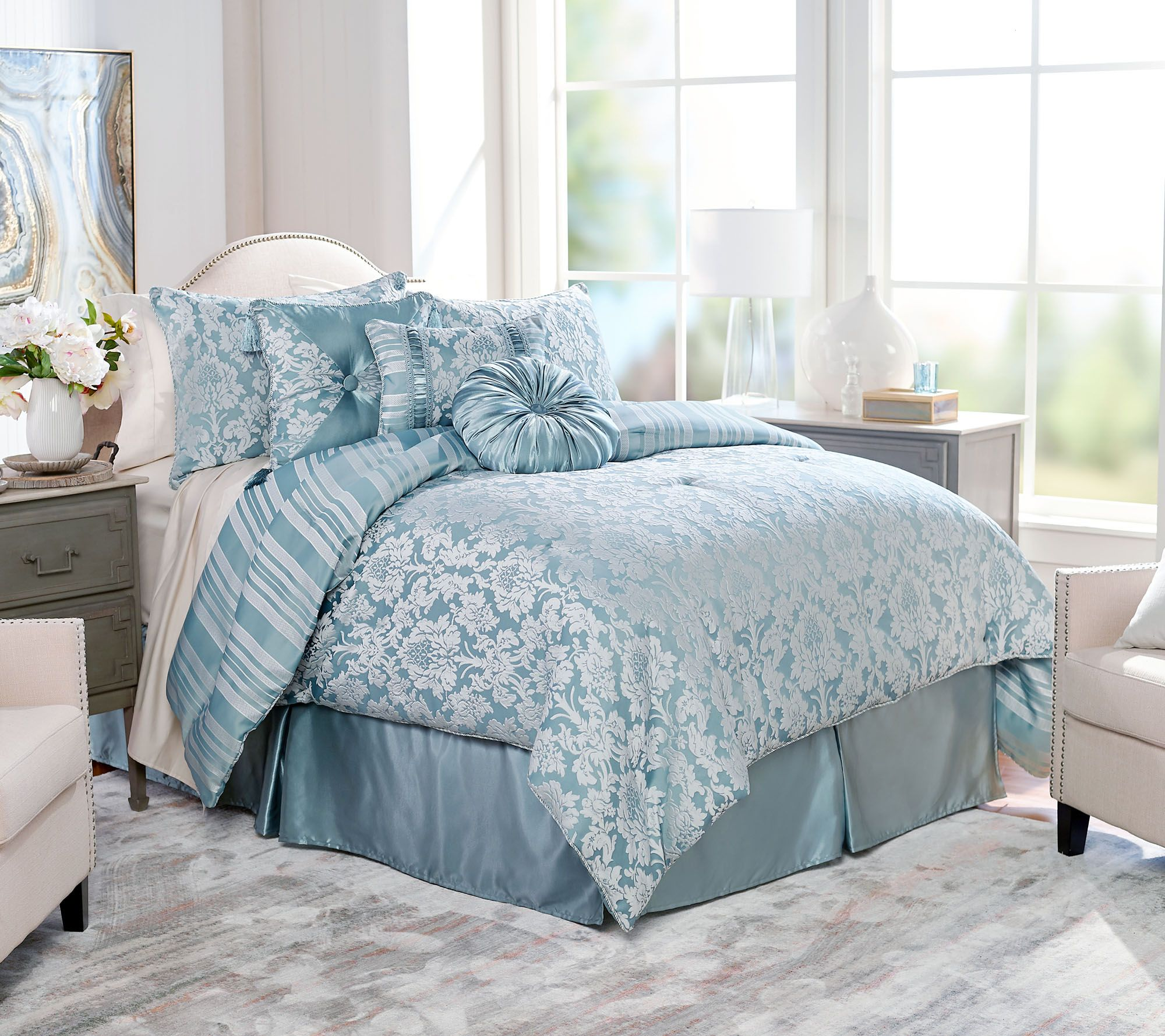qvc bedroom sets northern nights jacquard reversible 6 comforter 13033
