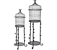 Set of 2 Indoor/ Outdoor Tables with BirdcageToppers by Valerie - H213535