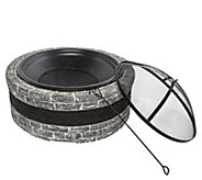 Sun Joe Fire Joe 35 Cast Stone Fire Pit - Charcoal Gray - H297135