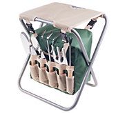 Pure Garden Folding Garden Stool Tool Bag plus5 Garden Tools - H302235
