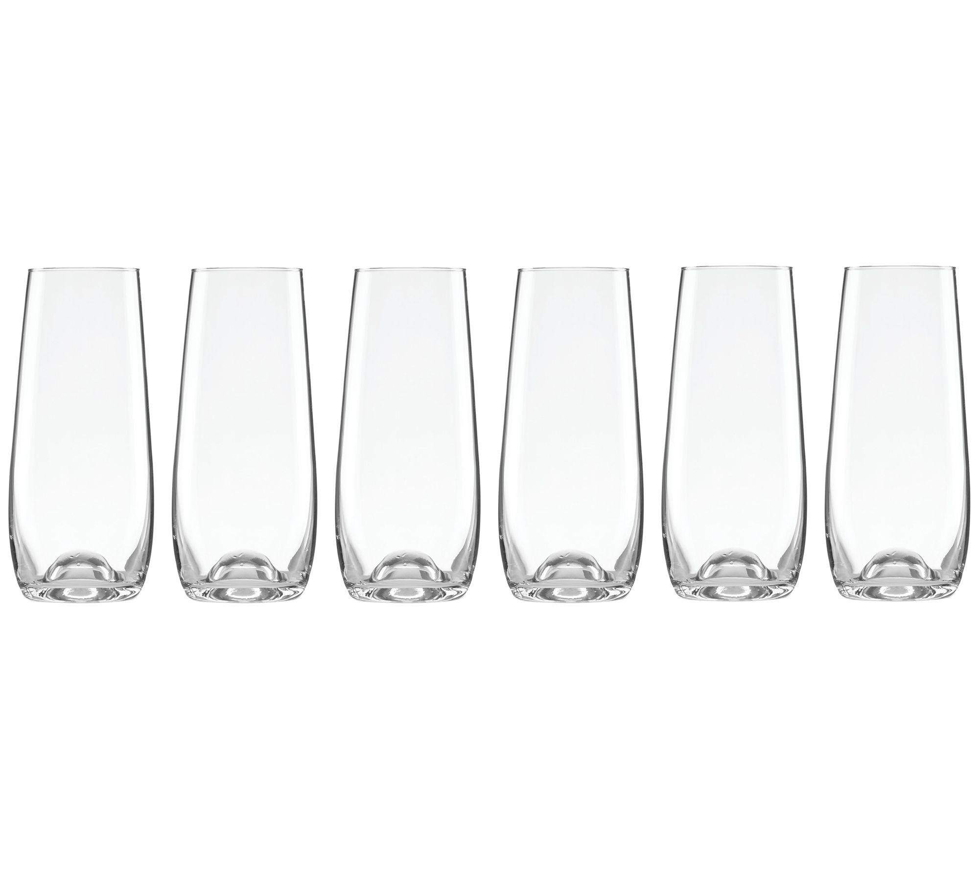 Set of 6 Libbey Stemless Flute Glasses