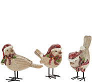 3pc Burlap Birds w/ Santa Hat by Valerie - H212536