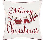 Kathy Ireland Christmas Clothesline 16 x 16 Throw Pillow - H301636