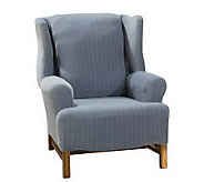 Sure Fit Stretch Pinstripe Wing Chair Slipcover - H149837