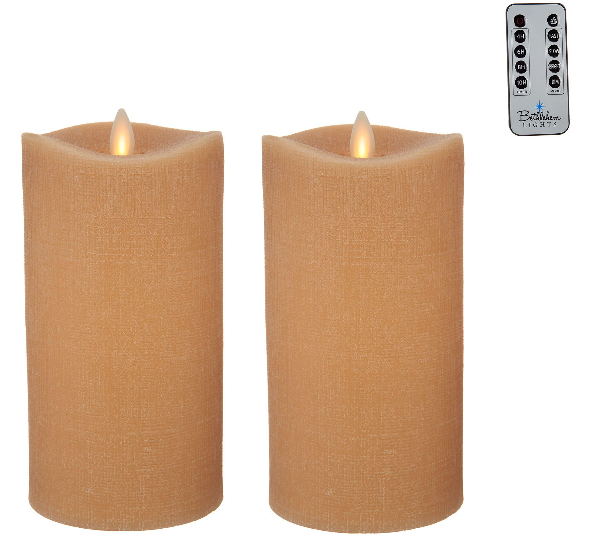 Bethlehem Lights Set Of 2 7 Moving Flame Touch Candle W Remote Qvc