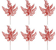 Set of 6 Glittered Leaf Maiden Hair Picks by Valerie - H215337