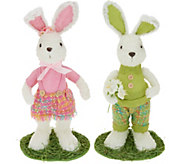 18 Soft White with Woven Plaid Bunny Couple by Valerie - H217937