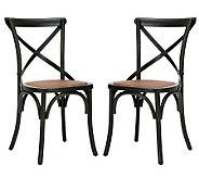 Set of 2 Soild Oakwood Construction Crossback Chairs - H349037