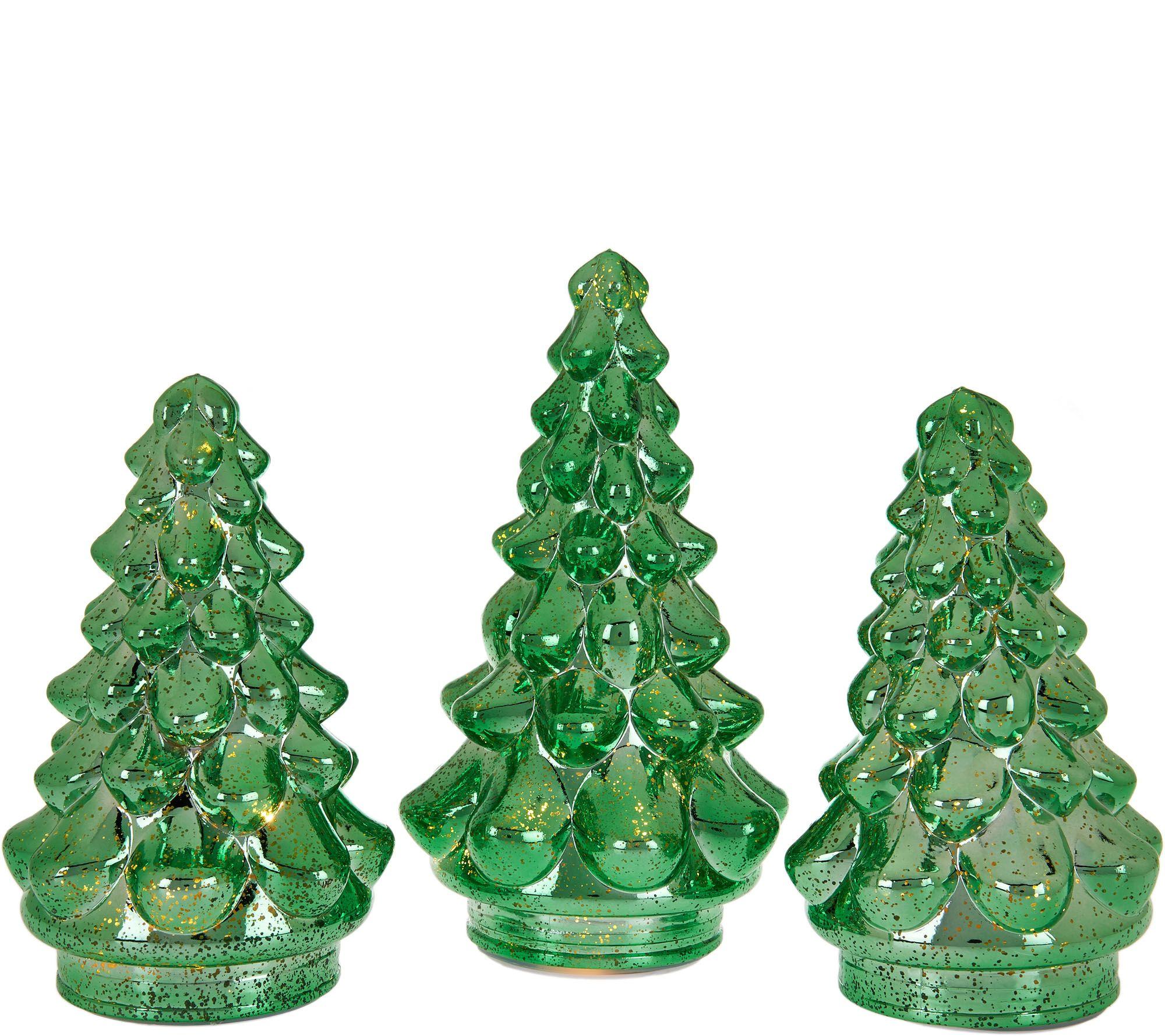 Set of 3 Illuminated Mercury Glass Graduated Christmas Trees - Page ...
