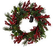 21 Illuminated Red Berry and Holly Wreath by Valerie - H209838