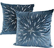 Casa Zeta-Jones Set of 2 Beaded Embroidered Snowflake Pillows - H216938