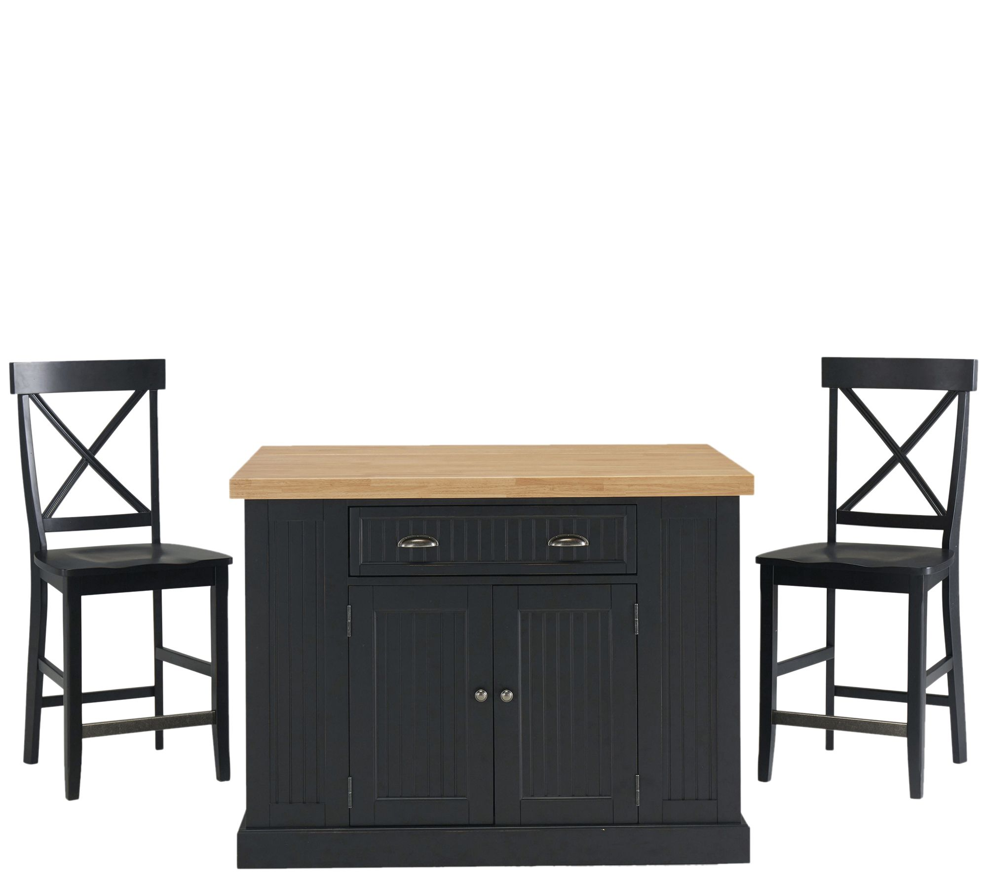 Tremendous Home Styles Nantucket Solid Wood Top Kitchen Island 2 Stools Qvc Com Pabps2019 Chair Design Images Pabps2019Com