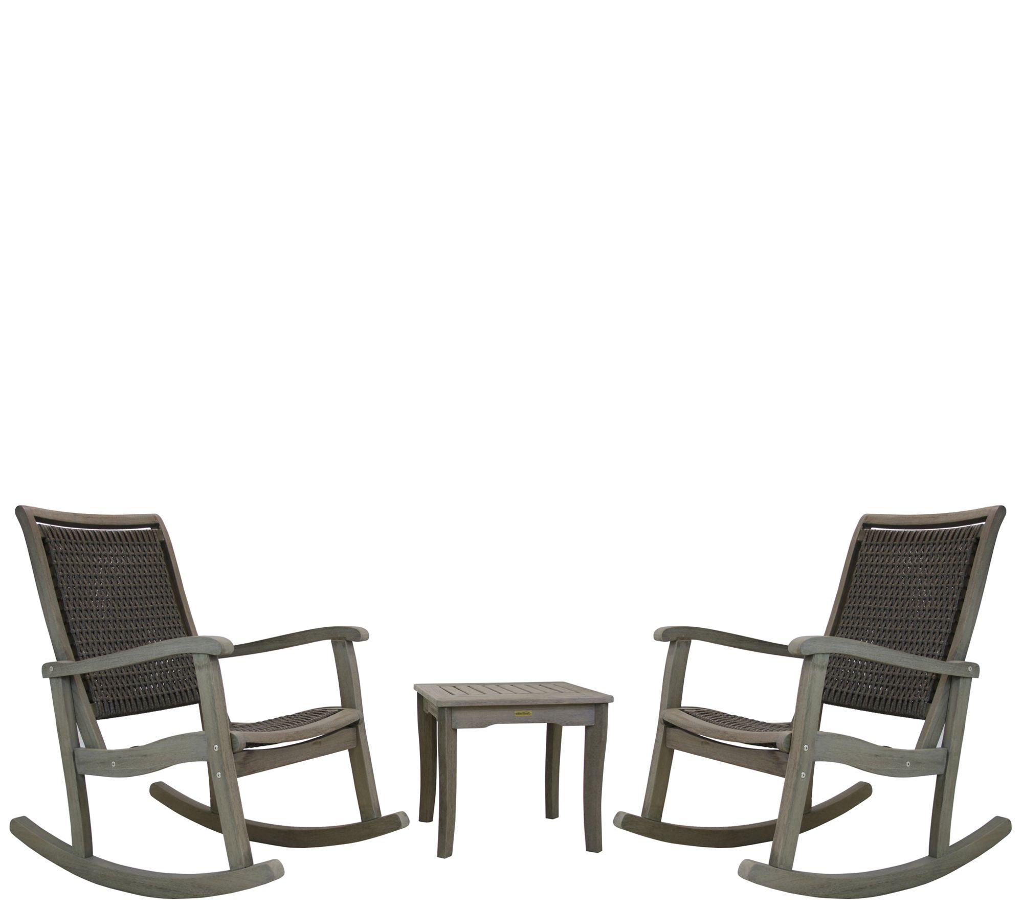 Prime 3 Piece Gray Wash Eucalyptus Rocking Chair Set Qvc Com Cjindustries Chair Design For Home Cjindustriesco