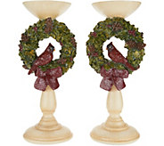 As Is S/2 12.5 Cardinal Wreath Pedestal Candle Holders by Valerie - H216039