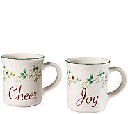 Pfaltzgraff Winterberry Joy and Cheer Mug set of 2 - H287139