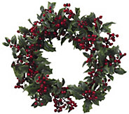 24 Holly Berry Wreath by Nearly Natural - H301139