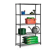 Honey-Can-Do Five-Tier Black Storage Shelves -800 lbs - H184040