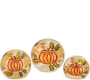 Set of 3 Illuminated Harvest Glass Spheres by Valerie - H214940