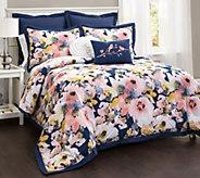 Floral Watercolor 7-Piece King Comforter Set byLush Decor - H290640