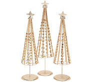 Set of 3 Graduated Glittered Jeweled Trees by Valerie - H212641