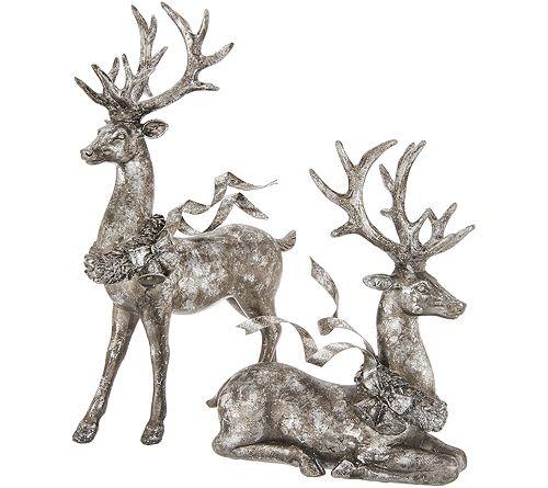Set of 2 Deer w/ Flowing Ribbonby Valerie
