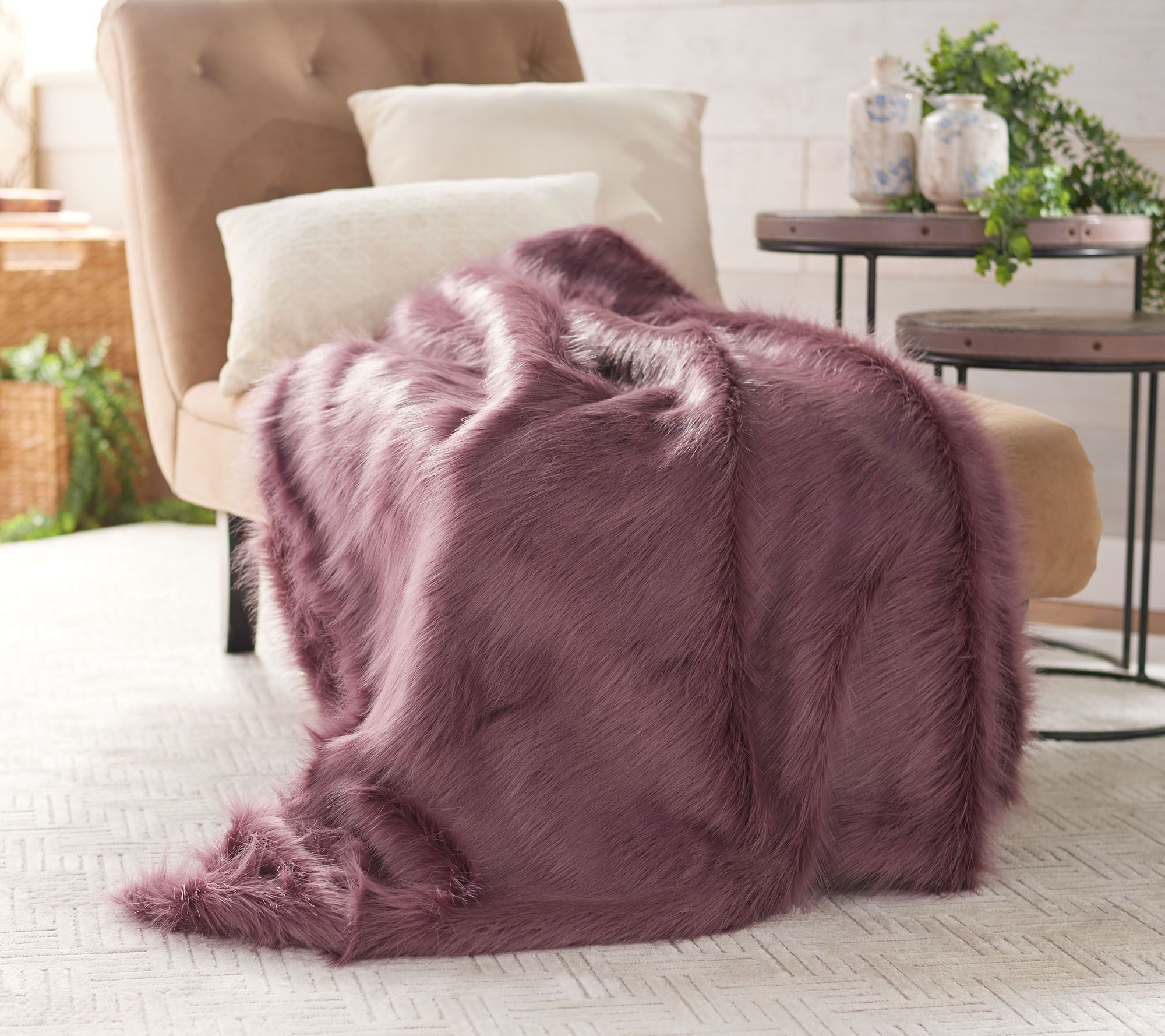 """Dennis Basso 50"""" X 60"""" Luxe Faux Feather Fox Fur Throw by Dennis Basso"""