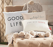 Peace Love World Set of 3 Woven Affirmation Pillows - H217541