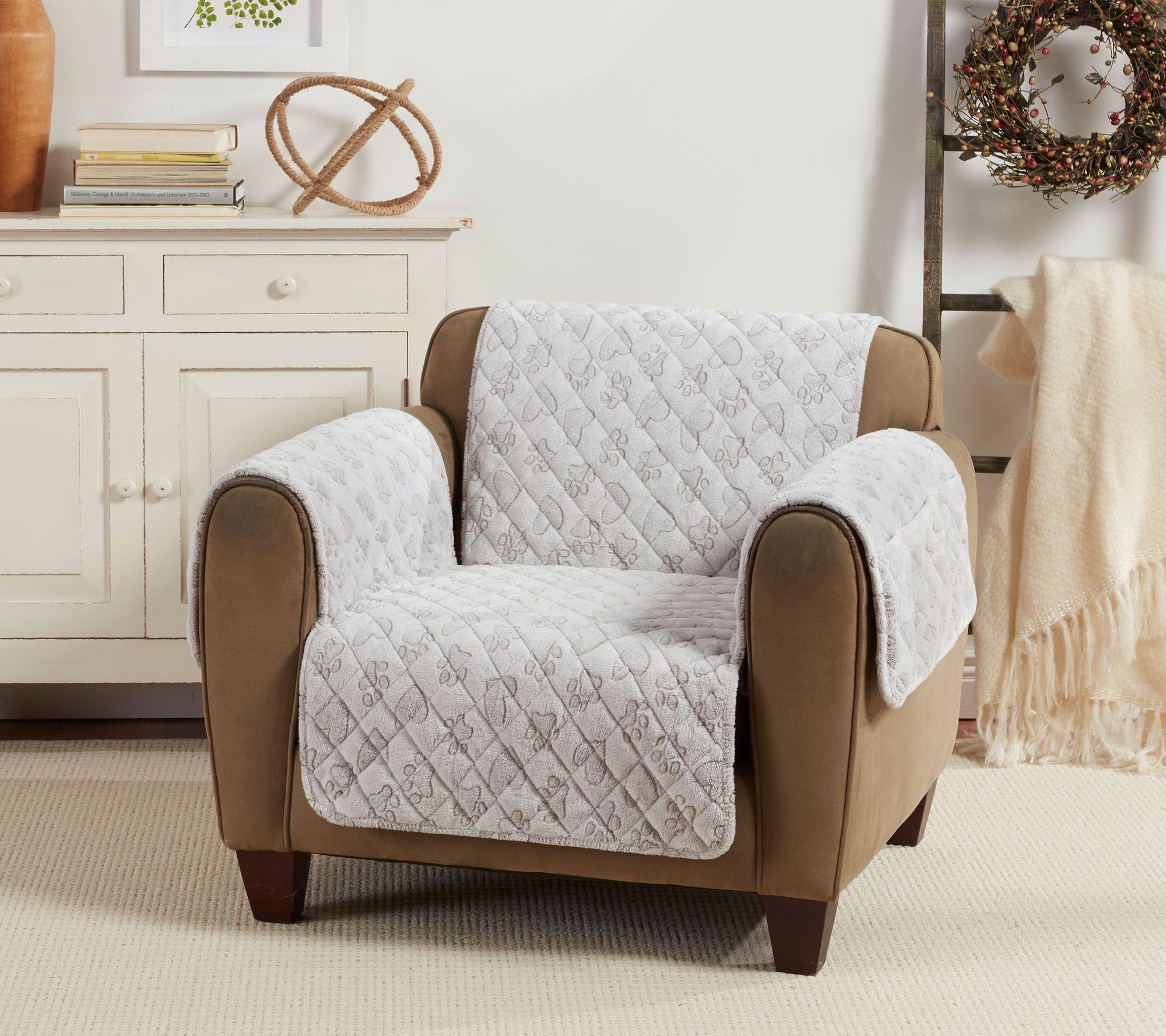 Outstanding Surefit Plush Quilted Pet Love Chair Furniture Cover Qvc Com Machost Co Dining Chair Design Ideas Machostcouk